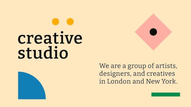 Vetor de modelo de banner de blog editável bauhaus inspirado em design plano texto de estúdio criativo