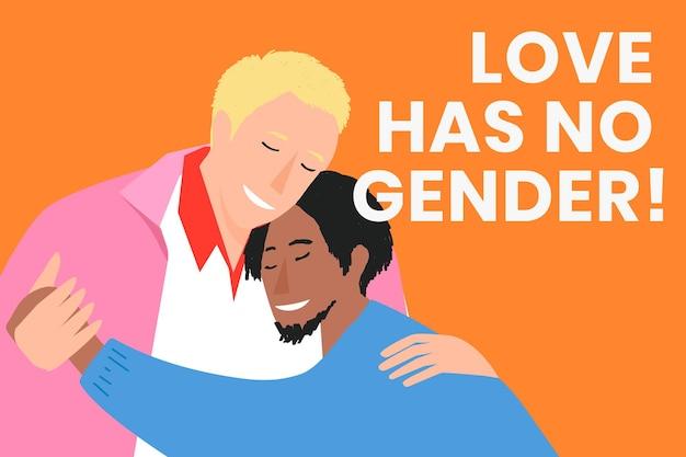 Vetor de modelo de banner de casal gay lgbtq para o mês do orgulho