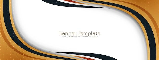 Vetor de modelo de banner de design de estilo de onda dourada abstrata
