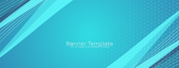 Vetor de modelo de banner de design moderno e dinâmico de onda azul
