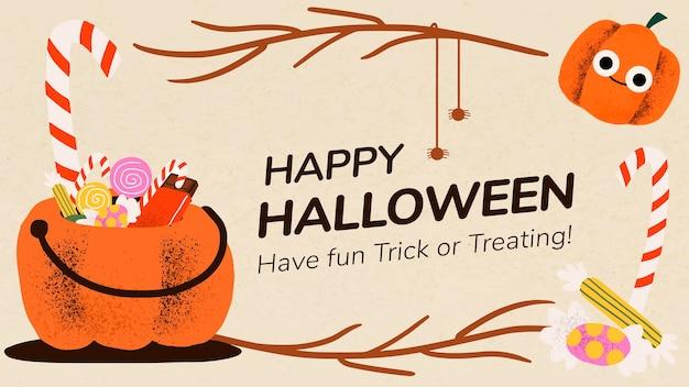 Vetor de modelo de banner de halloween, ilustração de abóbora fofa