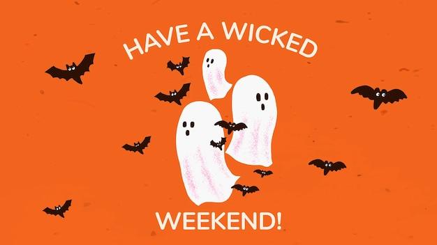 Vetor de modelo de banner de halloween, ilustração de fantasma branco com saudação