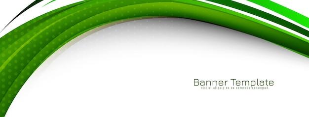 Vetor de modelo de banner de projeto de estilo onda verde abstrata
