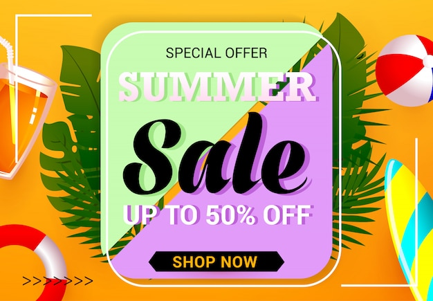 Vetor de modelo de banner de venda de verão