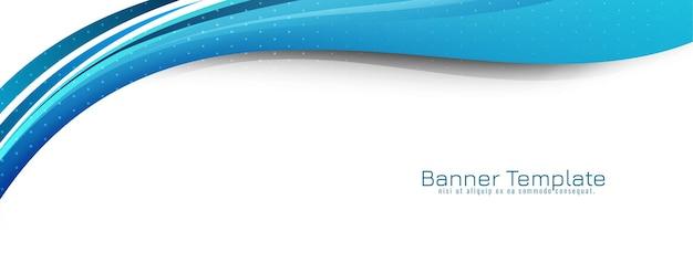 Vetor de modelo de banner moderno decorativo de estilo de onda azul