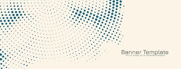 Vetor de modelo de banner vintage de design de meio-tom abstrato azul