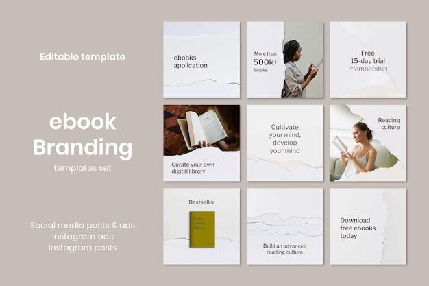 Vetor de modelo de biblioteca digital mínima anúncio de mídia social rasgado em papel artesanal