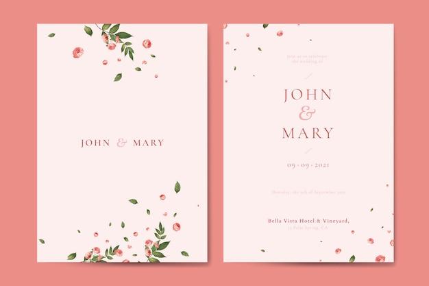Vetor de modelo de cartão de convite de casamento flor