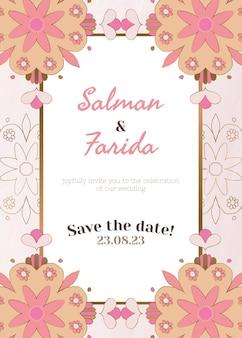 Vetor de modelo de cartão de convite de casamento indiano