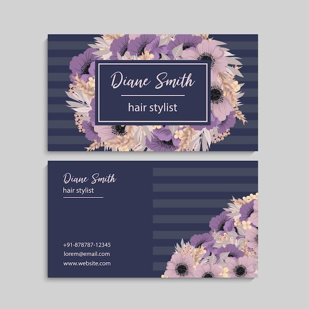 Vetor de modelo de cartão de estilo floral