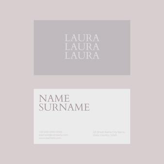 Vetor de modelo de cartão de visita em flatlay de tons de branco e cinza