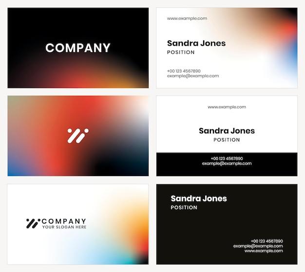 Vetor de modelo de cartão de visita gradiente para empresa de tecnologia em conjunto de estilo moderno