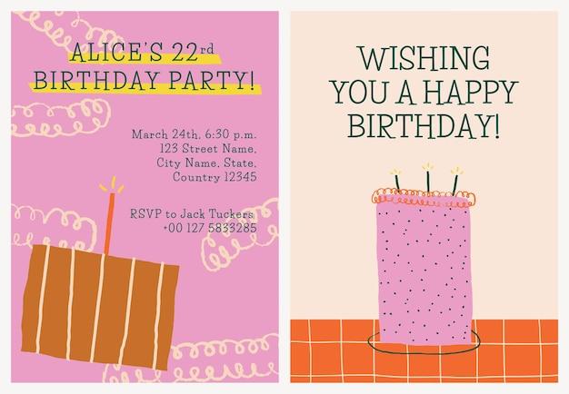Vetor de modelo de convite de celebração de aniversário com rabiscos fofos