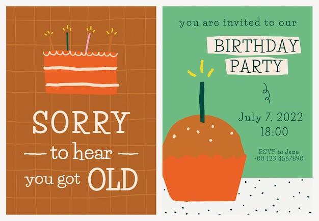 Vetor de modelo de convite de festa de aniversário com rabiscos fofos