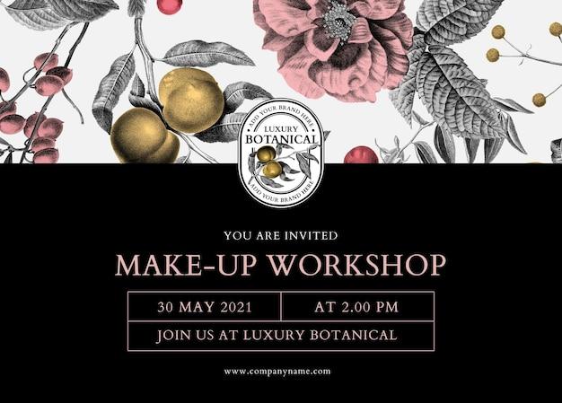 Vetor de modelo de convite de oficina editável em botânico de luxo e estilo vintage