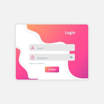 Vetor de modelo de design da interface do usuário de login da web