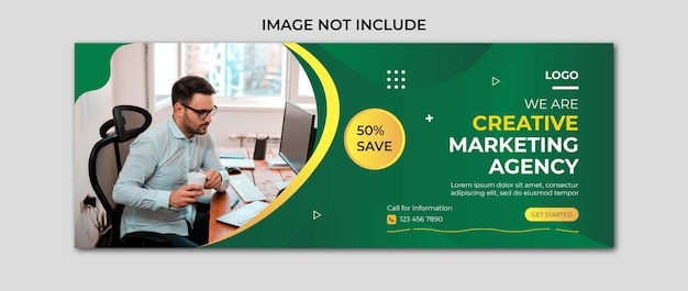 Vetor de modelo de design de capa de facebook de agência de marketing digital