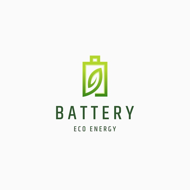Vetor de modelo de design de ícone de energia de natureza ecológica bateria e folha