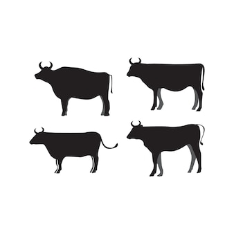 Vetor de modelo de design de ícone de silhueta de vaca isolado