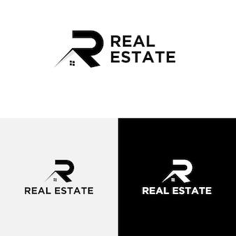 Vetor de modelo de design de imóveis de logotipo de letra r.