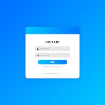 Vetor de modelo de design de interface do usuário de login gradiente
