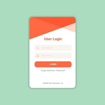 Vetor de modelo de design de interface do usuário de login