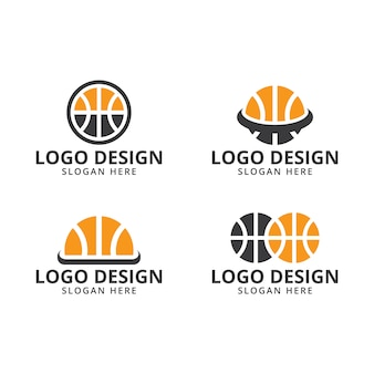 Vetor de modelo de design de logotipo de basquete no pacote
