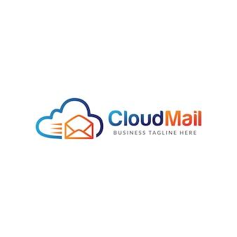 Vetor de modelo de design de logotipo de correio em nuvem