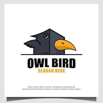 Vetor de modelo de design de logotipo de coruja
