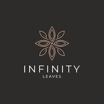 Vetor de modelo de design de logotipo de luxo com folhas infinitas
