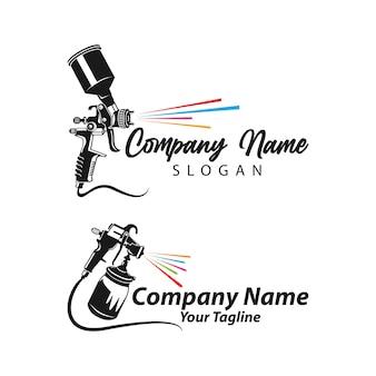 Vetor de modelo de design de logotipo de pintura, modelo de logotipo artístico, logotipo de pintura de pistola de pulverização