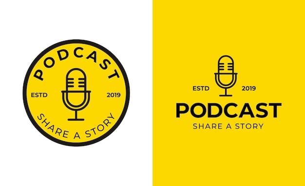 Vetor de modelo de design de logotipo de podcast ou rádio