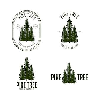 Vetor de modelo de design de logotipo vintage de pinheiros abstratos