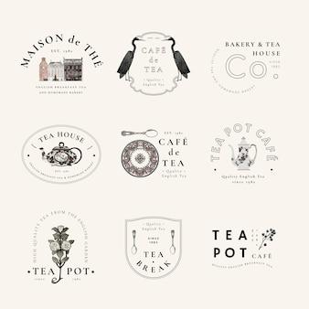 Vetor de modelo de emblema estético para conjunto de café, remixado de obras de arte de domínio público