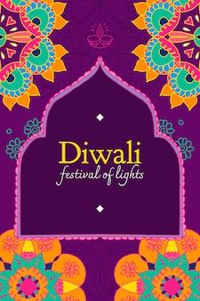 Vetor de modelo de festival de luzes de diwali