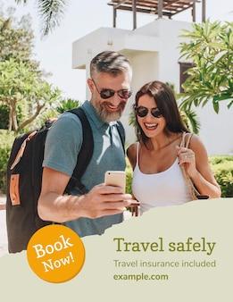 Vetor de modelo de folheto de agência de viagens com foto de férias em estilo moderno