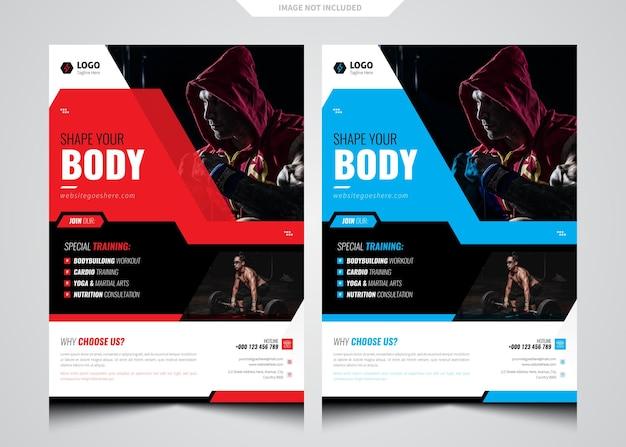 Vetor de modelo de folheto de ginástica cente fitness
