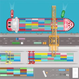 Vetor de modelo de infográficos de transporte de logística