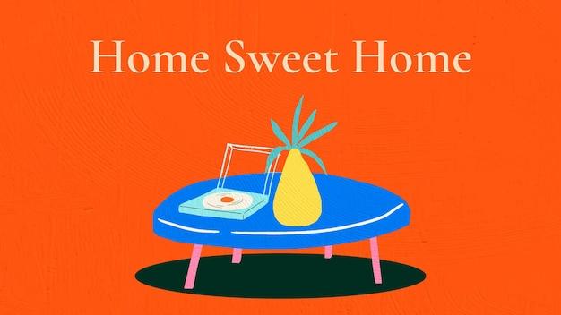 Vetor de modelo de lar doce lar para banner interior desenhado à mão
