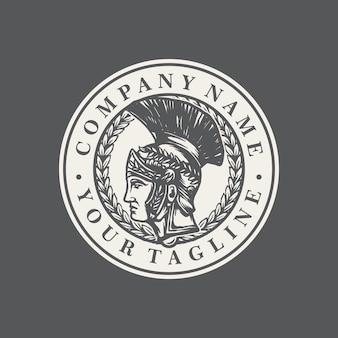Vetor de modelo de logotipo antigo espartano