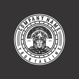 Vetor de modelo de logotipo com raiva espartano