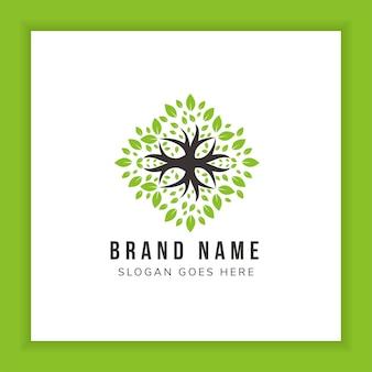 Vetor de modelo de logotipo de árvore conceito de logotipo de floresta sustentável