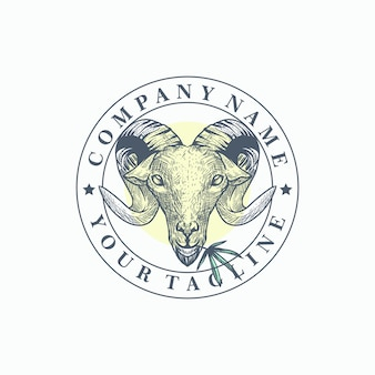 Vetor de modelo de logotipo de cabra maconha