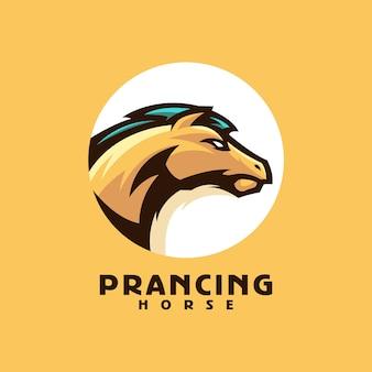 Vetor de modelo de logotipo de cavalo empinado