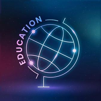 Vetor de modelo de logotipo de educação de geografia com gráfico de ciência do globo