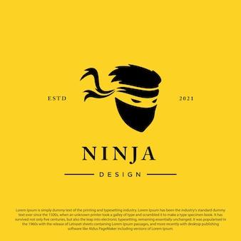 Vetor de modelo de logotipo de espião ninja mascarado em fundo branco