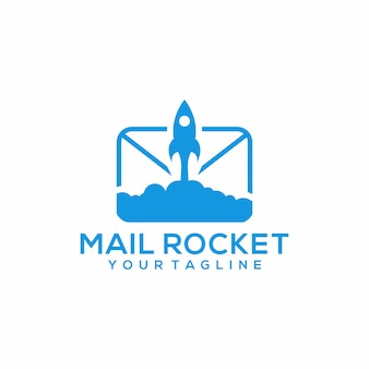 Vetor de modelo de logotipo de foguete de correio