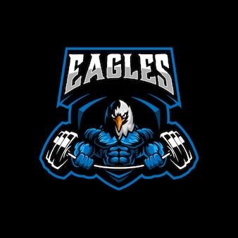 Vetor de modelo de logotipo de ginásio de águia