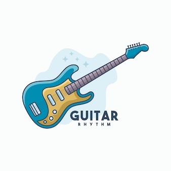 Vetor de modelo de logotipo de guitarra ritmo