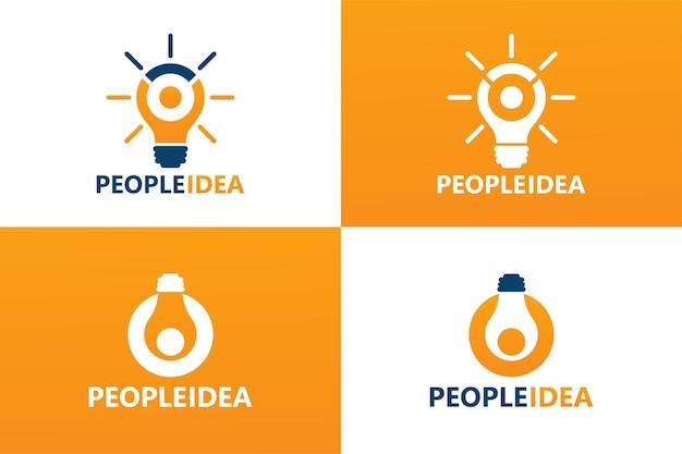 Vetor de modelo de logotipo de lâmpada de ideia de pessoas premium